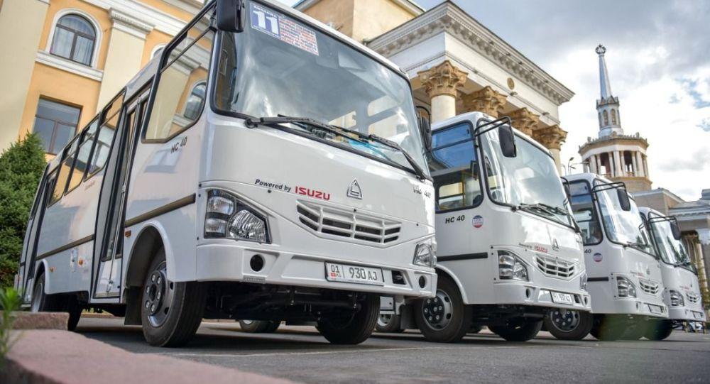 Бишкекке жаңы алып келинген автобустар