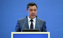 Президент Садыр Жапаров во время выступления. Архивное фото