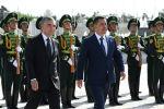 Церемония официальной встречи президента Садыра Жапарова с президентом Туркменистана Гурбангулы Бердымухамедовым в Ашхабаде