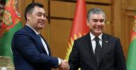 Президент Кыргызстана Садыр Жапаров во время встречи с главной Туркменистана Гурбангулы Бердымухамедовым в Ашахабаде. 28 июня 2021 года