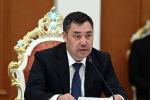 Президент Садыр Жапаров во время двусторонних переговоров в расширенном формате в Душанбе. 29 июня 2021 года