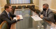 Встреча председателя правления РКФР Артема Новикова и главы совета фонда, заместителя министра финансов России Тимура Максимова в Москве.