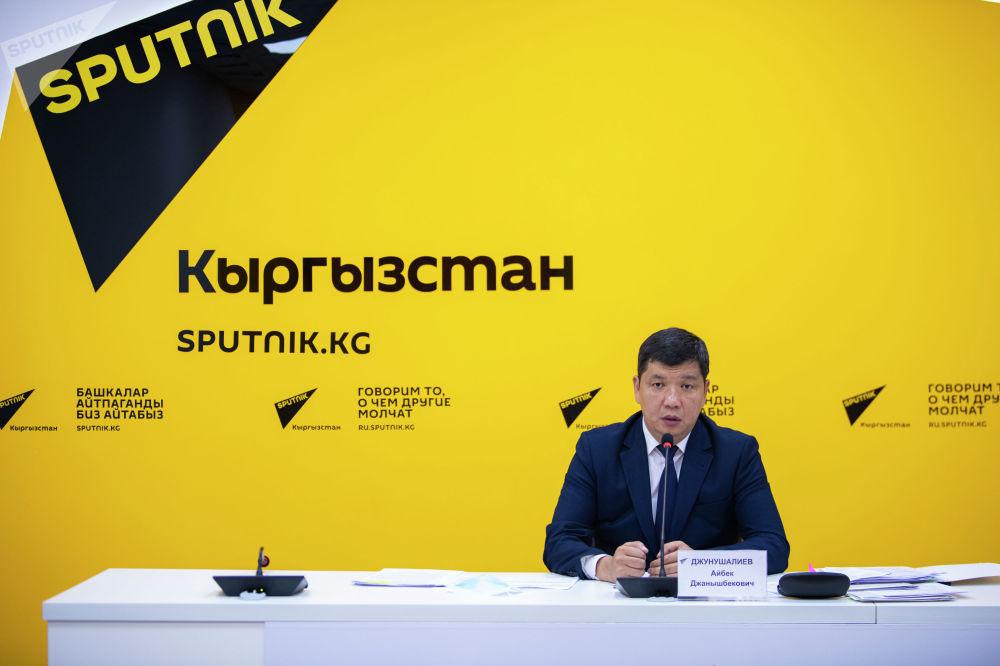 Первый заместитель председателя кабинета министров Айбек Джунушалиев выступил на брифинге в пресс-центре Sputnik