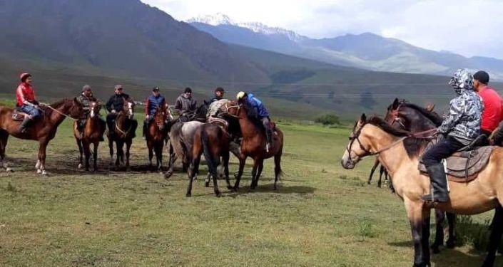 Съемки документального фильма про национальную игру в кок-бору в Кыргызстане.