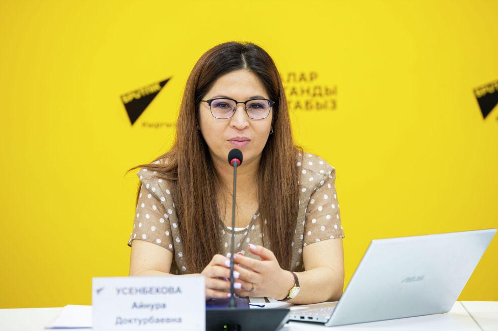 Заместитель заведующего отделом политики стратегического развития и планирования администрации президента Айнура Усенбекова на брифинге в пресс-центре Sputnik Кыргызстан