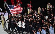 Спортсмены сборной США на параде атлетов на церемонии открытия XXXII летних Олимпийских игр в Токио.