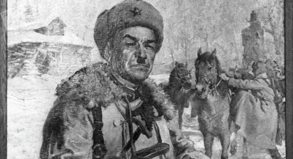 Репродукция картины Портрет генерала Ивана Васильевича Панфилова. Архивное фото