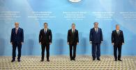 Президенты Казахстана, Кыргызстана, Туркменистана, Таджикистана и Узбекистана на Консультативной встрече глав государств Центральной Азии в Туркменистане. 06 августа 2021 года