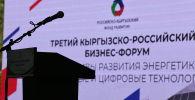 Сцена в III Кыргызско-российском бизнес-форуме в Чолпон-Ате