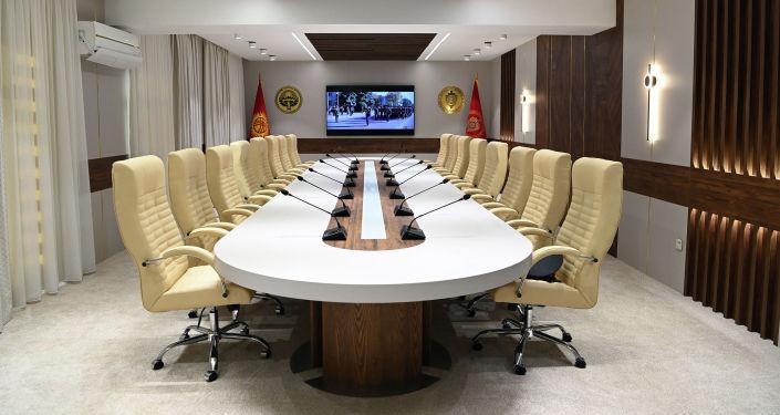 Зал международного сотрудничества в здании МВД во время посещения президентом КР. 24 августа 2021 года