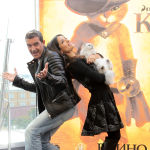 Сальма Хаек и Антонио Бандерас перед премьерой мультфильма Кот в сапогах 3D в 2011 году