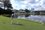 Американский гольфист Харрис Инглиш отметился невероятным попаданием в лунку после дальнего удара. Мяч перелетел через озеро и попал в цель.