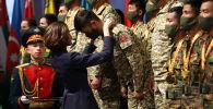 Награждение кыргызстанцев победителей второго дивизиона Танкового биатлона в музее Армейских международных игр на территории парка Патриот в Алабино