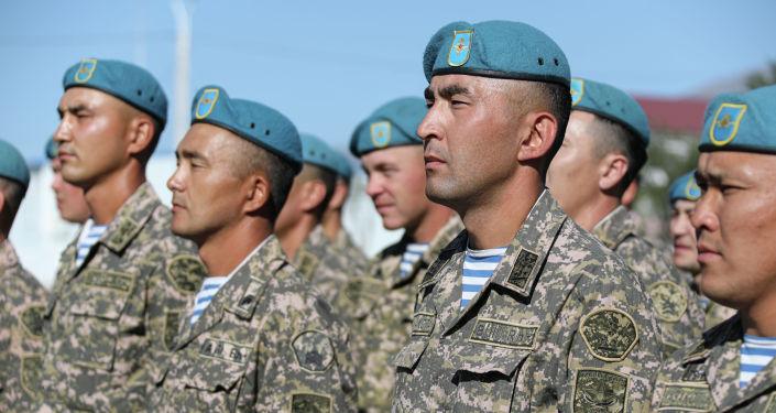 Воинский контингент из Казахстана на совместных учениях Рубеж-2021 на полигоне Эдельвейс в Кыргызстане. 05 сентября 2021 года