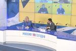 Видеомост Москва — Бишкек — Ереван — Минск — Нур-Султан проходит в пресс-центре информагентства Sputnik.