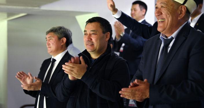 Президент Садыр Жапаров на трибунах стадиона имени Долона Омурзакова в Бишкеке, во время матча Кыргызстан — Бангладеш, в рамках Кубка трех наций. 07 сентября 2021 года