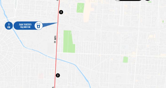 Карта маршрута забега Toyboss Snow Leopard Run 2021 в Бишкеке на 5 км