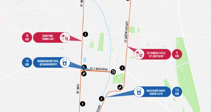 Карта маршрута забега Toyboss Snow Leopard Run 2021 в Бишкеке на 21 км