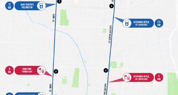 Карта маршрута забега Toyboss Snow Leopard Run 2021 в Бишкеке на 14 км