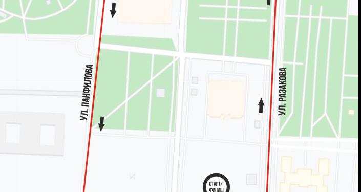 Карта маршрута забега Toyboss Snow Leopard Run 2021 в Бишкеке на 1 км