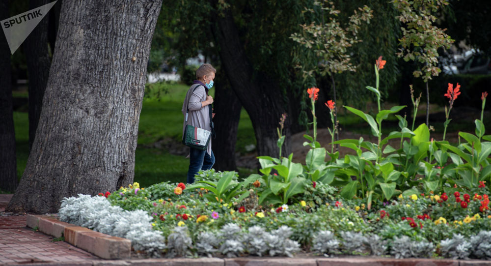 Бишкекте бет кап кийген аял