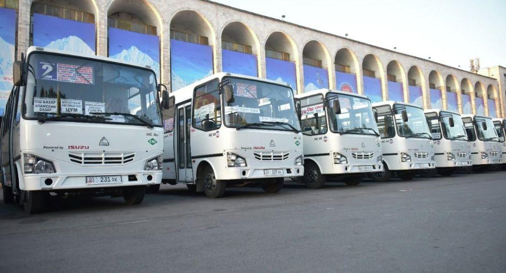 Презентация новых автобусов на площади Ала-Тоо