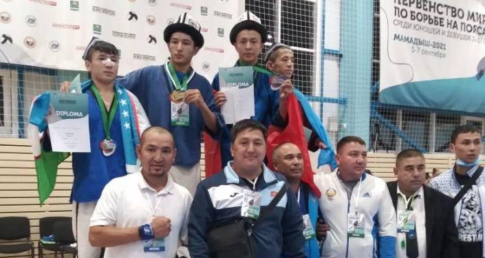 Сборная Кыргызстана на чемпионате мира по борьбе на поясах в г. Мамадыш (Татарстан). 11 сентября 2021 года