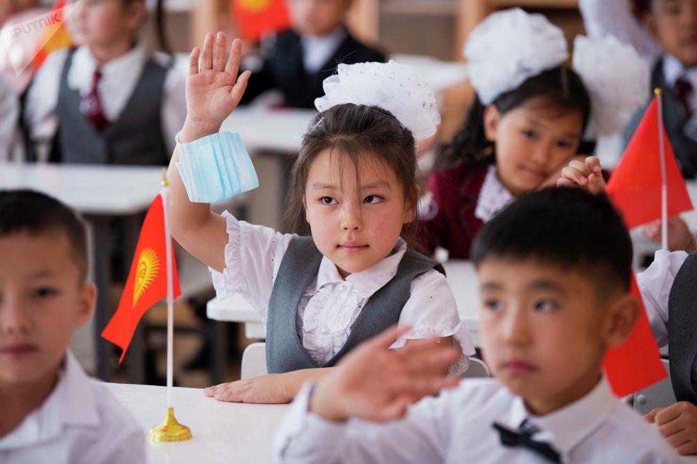 Первоклассник на уроке в одном из образовательных учреждений Бишкека в день начала 2021/2022 учебного года