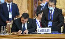 Президент Кыргызстана Садыр Жапаров на заседании совета коллективной безопасности ОДКБ в Душанбе
