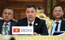 Президент Кыргызстана Садыр Жапаров на заседании Совета глав государств-членов ШОС в Душанбе, Таджикистан. 17 сентября 2021 года