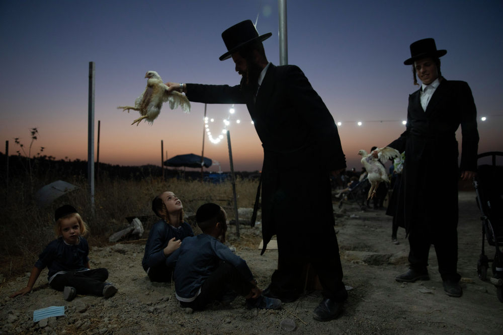 Ультраортодоксальный еврей держит курицу над своими детьми во время обряда Капарот в Бейт-Шемеш (Израиль). 13 сентября 2021 года