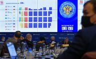 Демонстрация на экране в Центральной избирательной комиссии РФ распределения мест в Госдуме после обработки 100% протоколов избирательных комиссий по выборам депутатов в Государственную Думу РФ 8-го созыва.