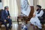 Казакстандын Афганистандагы элчиси Алимхан Есенгелдиев Талибан* өкмөтүнүн тышкы иштер министри Амир Хан Муттаки менен жолугушуусу