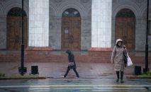 Женщина переходит дорогу во время первого осеннего снега в Бишкеке. Архивное фото