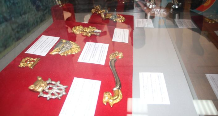 Экспонаты в национальном музее изобразительных искусств, на выставке в рамках Дней культуры РК в Бишкеке. 09 октября 2021 года