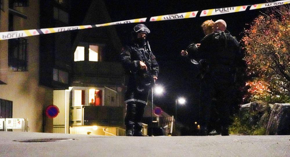 Полицейское оцепление, после убийства и ранения нескольких человек в Конгсберге (Норвегия)