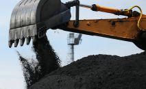 Работа экскаватора на складе угля. Архивное фото