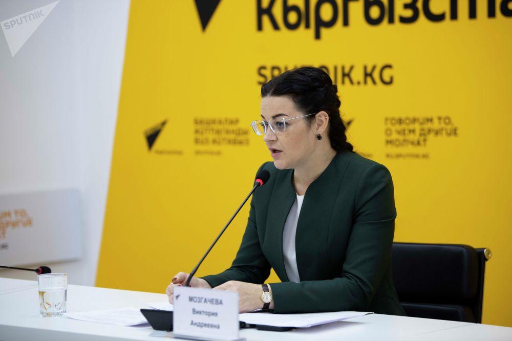 Вице-мэр Бишкека Виктория Мозгачева на брифинге в пресс-центре Sputnik Кыргызстан