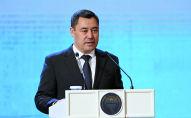 Президент Кыргызстана Садыра Жапарова во время выступления на Республиканском совещании глав органов местного самоуправления и местных госадминистраций