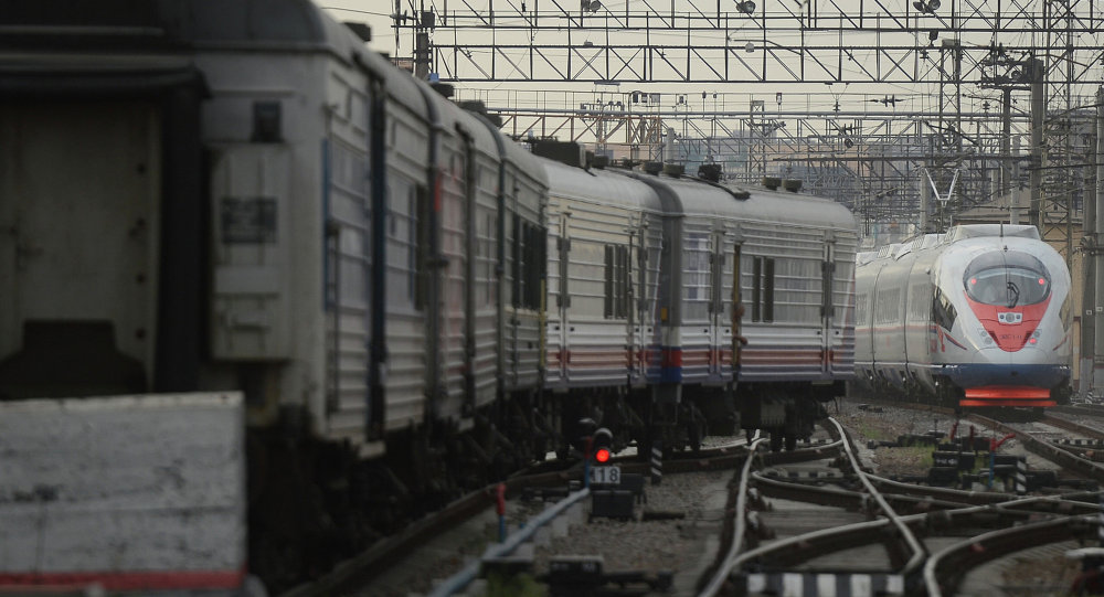 Торжественный запуск первого сдвоенного состава высокоскоростного поезда Сапсан
