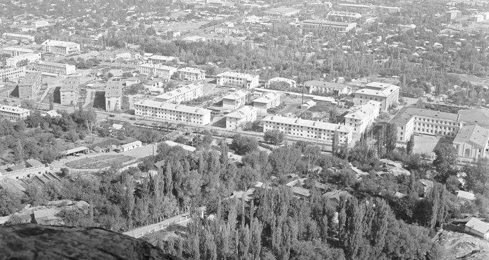 Вид на город Ош с горы Сулейман