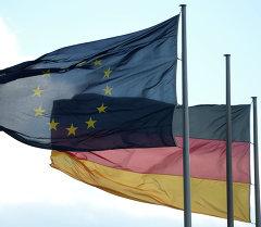 Флаги Евросоюза и Германии в Берлине