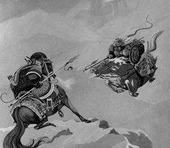 Репродукция иллюстрации к киргизскому эпосу Манас