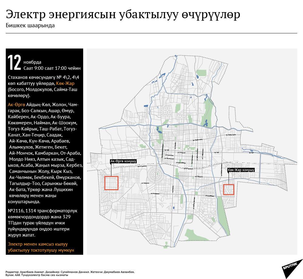 Возможны временные отключения электричества в городе Бишкеке (кырг)