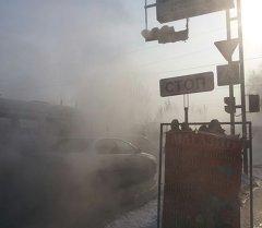Прорыв теплосети в Бишкеке