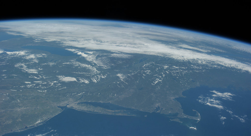 Вид на планету Земля с космоса. Архивное