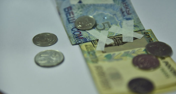 Купюры сом и рубль