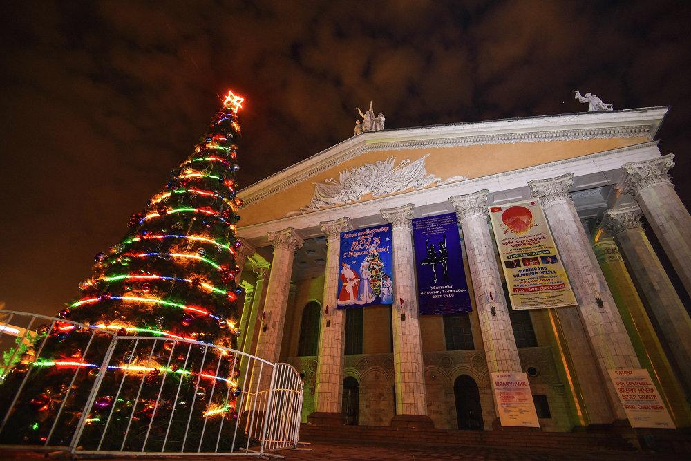 Новогодняя елка перед театром оперы и балета.