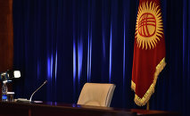 Кресло президента во время итоговой конференции. Архивное фото