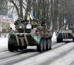 Украинские военные в городе Волноваха, 18 января 2015 года